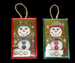 Set 2 Unique Handcrafted Snowman Christmas Ornaments - $8.99