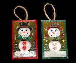 Set 3 Unique Handcrafted Snowman Christmas Ornaments - $8.99