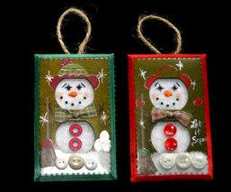 Set 4 Unique Handcrafted Snowman Christmas Ornaments - $8.99