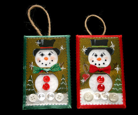Set 5 Unique Handcrafted Snowman Christmas Ornaments