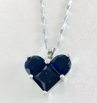 925 Sterling Silver Blue Sapphire Heart Pendant Necklace [PEN-112] - $16.83