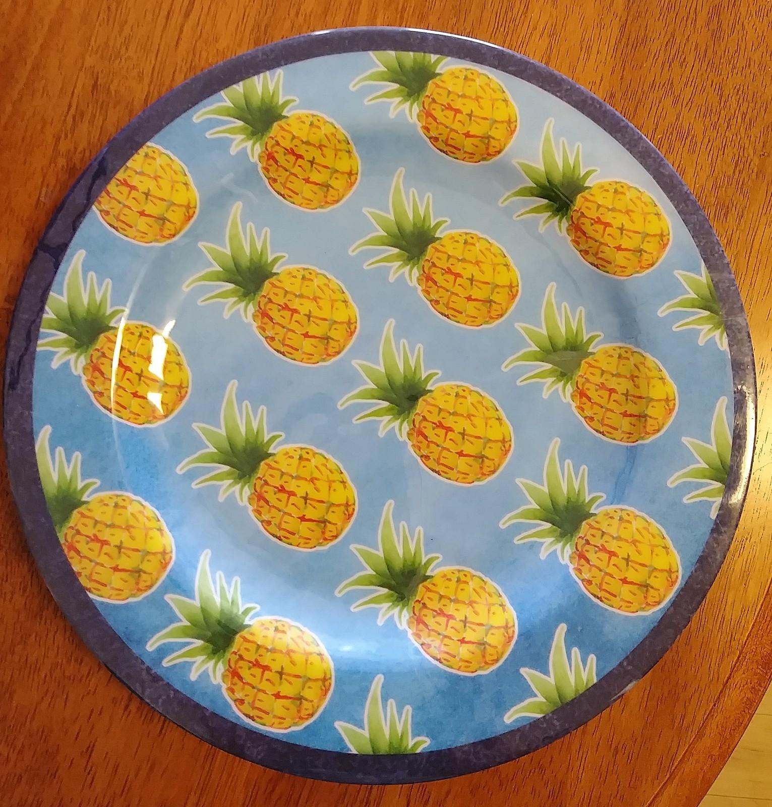 "Melamine Plates Set of 4 with Pineapple design Blue Dinner Plate 11"""