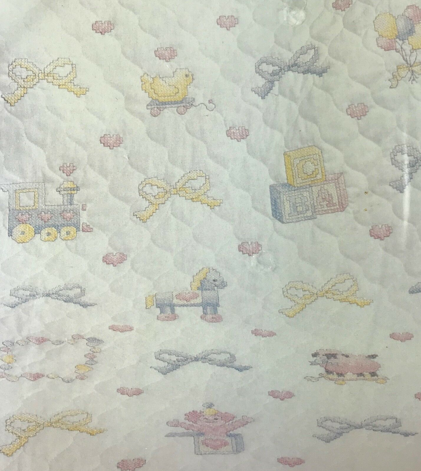 Janlynn Printed Cross Stitch Baby Shower Quilt Kit 118-06 New in Package 1991