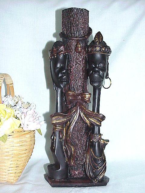 2-In-1 African American Love Couple Vase And Statue