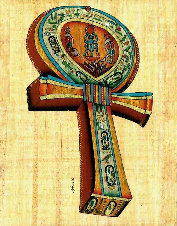 "16""x12"" Ankh Key Authentic Egyptian Papyrus"
