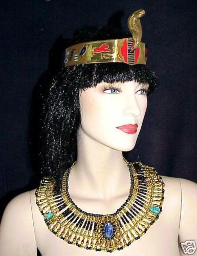 Halloween Costume Egyptian Queen Cleopatra 2Pc Set Cobra Crown and Necklace