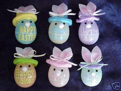 CUTE Sets Of 6 Lighted Colored Easter Bunny Ornaments