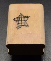 """stampin up 1995 patchwork star w/ button stitched wood mounted rubber stamp 1X1"""" - $6.45"""