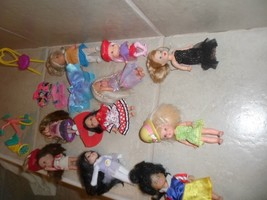 10 mixed brands dolls Kelly,Kid Core,lovely dolls, tricycle,chair,clothe... - $21.99