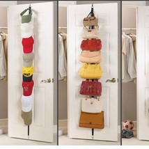 Hanger Over Door Strap Rack Adjustable 8 Hook Bag Hat Handbag Clothes Or... - $9.04