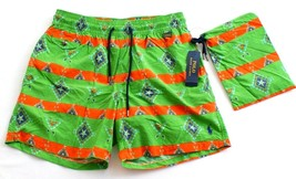 Polo Ralph Lauren Green Graphic Brief Lined Swim Trunks Water Shorts Men's NWT - $124.49