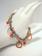 Copper Chain Bracelet with Turquoise and Coral - $45.00