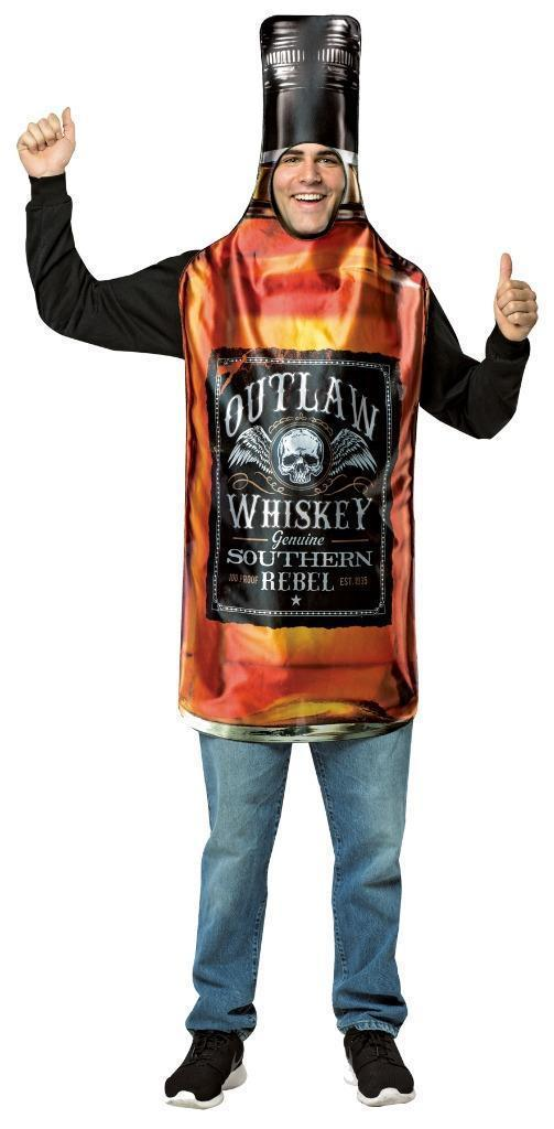 Whiskey Bottle Get Real Costume Adult Alcohol Halloween Party Unique GC6836