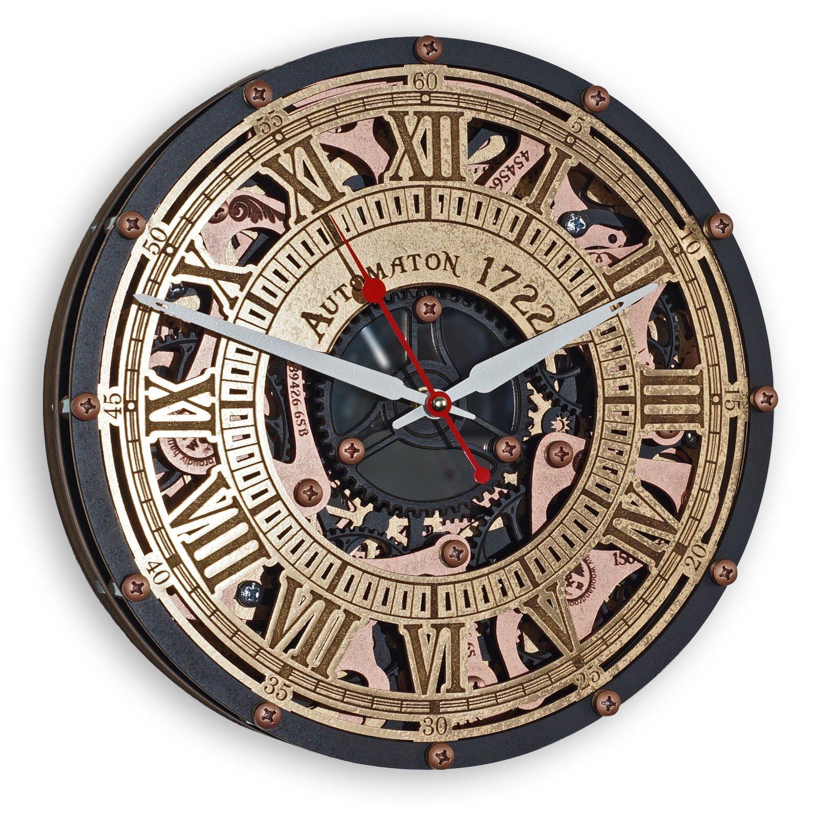 Automaton Skeleton 1722 Black Gold Wall Clock Wall Clocks