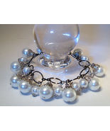 Bracelet Lg Link Chain White Sea Shell Pearls - $9.99