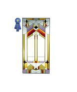 42x20 DECO-TECTURAL Geometric Stained Art Glass... - $155.00