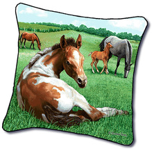 "18"" HORSE Colt Foal Nature Farm Tapestry Cushion Pillow - $25.00"