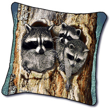 "18"" RACCOON Wildlife Nature Tapestry Cushion Pillow  - $25.00"