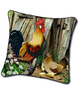 """18"""" ROOSTER Hen Chicken Farm Tapestry Cushion Pillow - $25.00"""
