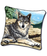 """18"""" WOLF Wolves Wildlife Nature Tapestry Cushion Pillow - $25.00"""