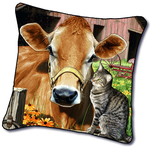 "18"" COW Cattle Farm Animal CAT Tapestry Cushion Pillow"