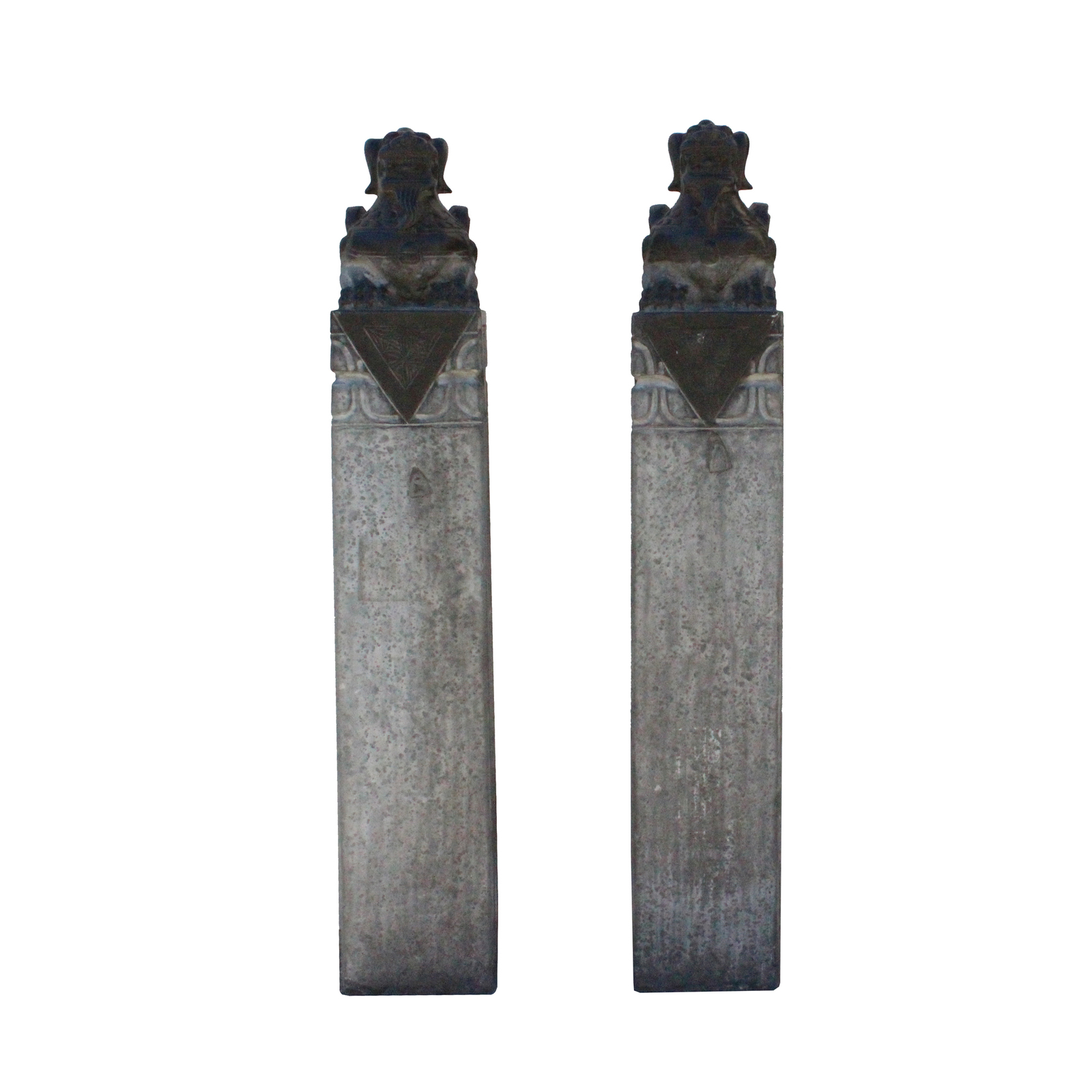 Chinese Pair Gray Black Color Stone Fengshui Pixiu Tall Slim Pole Statue cs4770