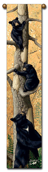 "40"" BEAR Cubs Wildlife Bell Pull Tapestry Wall Hanging"