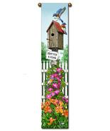 "40"" BLUEBIRD Floral Bell Pull Tapestry Wall Han... - $23.00"