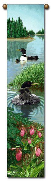"40"" LOON Duck Wildlife Bell Pull Tapestry Wall Hanging"