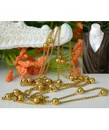 Vintage Trifari Long Chain Necklace Gold Tone Bead Accents - $19.95