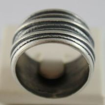 Silver Ring 925 Burnished Band with Righe Satin Vintage Style image 3