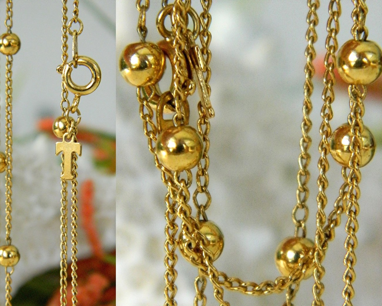 Vintage Trifari Long Chain Necklace Gold Tone Bead Accents