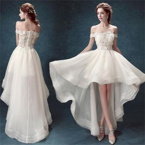 High low off shoulder white organza cheap cocktail prom dresses   wedding party dresses pd0197