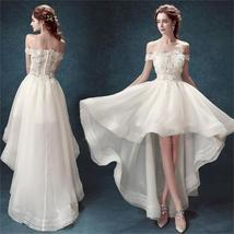 High Low Off Shoulder White Organza Cheap Cocktail Wedding Party Dresses,PD0197 - $176.00
