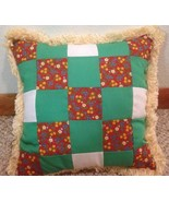 Old Antique Vintage Handmade Patchwork Throw Pillow Check Checkered fringe - $19.79