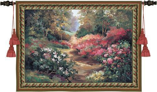 68x53 GARDEN PATH Floral Flower Tapestry Wall Hanging