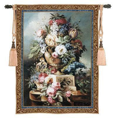 53x76 SUMMER PEACE Rose Urn Vase Floral Flower Tapestry Wall Hanging