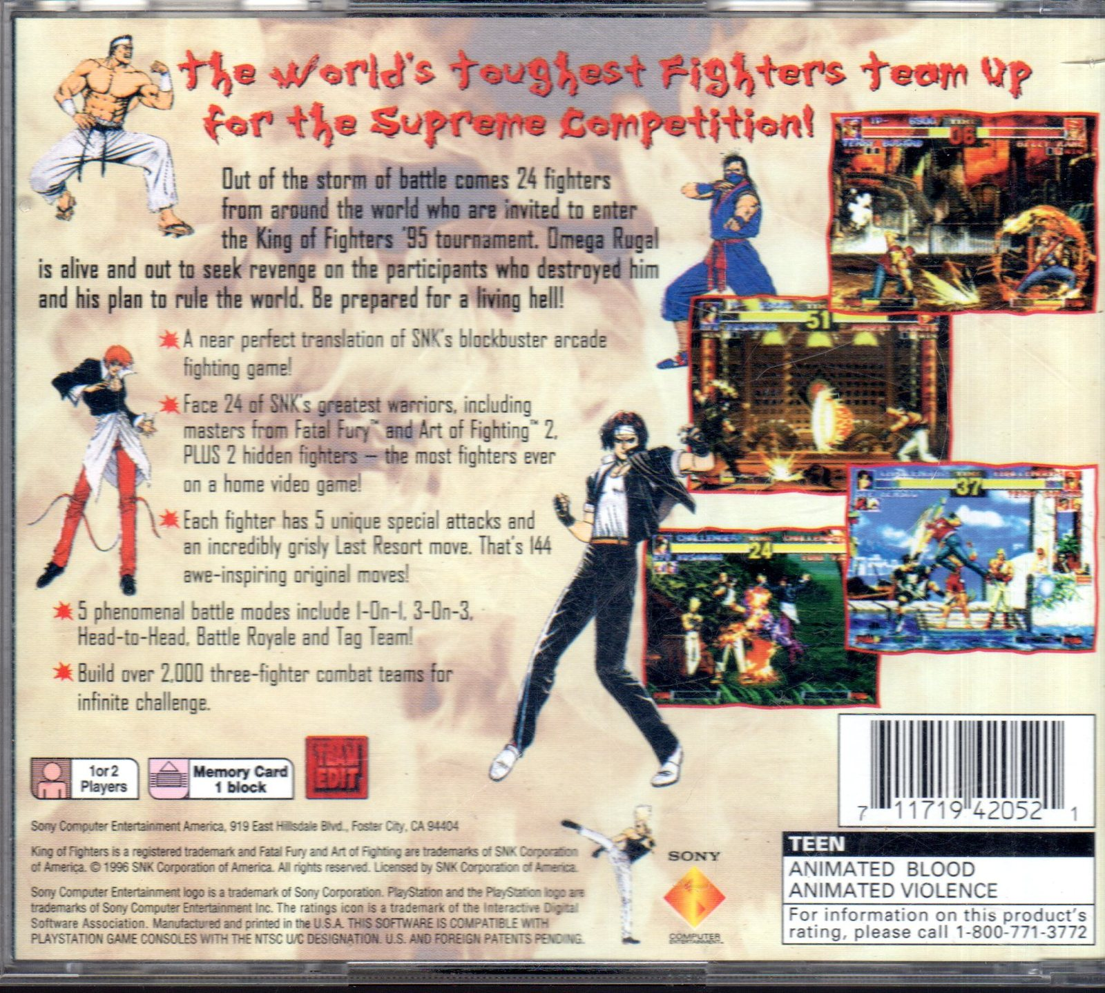 King of Fighters '95 (PlayStation 1, 1996) Rare American release