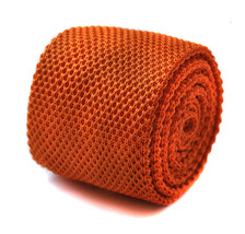 plain orange skinny knitted tie with pointed end by Frederick Thomas FT2223