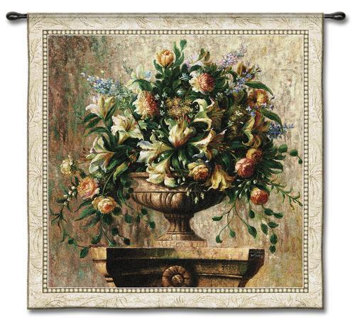 53x53 SONATA Rose Lily Floral Flower Fine Tapestry Wall Hanging - $170.00