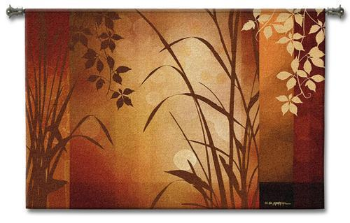 Primary image for 53x36 FLAXEN SILHOUTTE Botanical Tapestry Wall Hanging