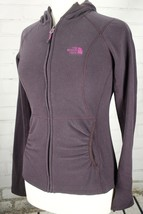 The North Face Fleece Hoodie Sweatshirt Full ZipPurple w/ Pink Logo Wome... - $38.61