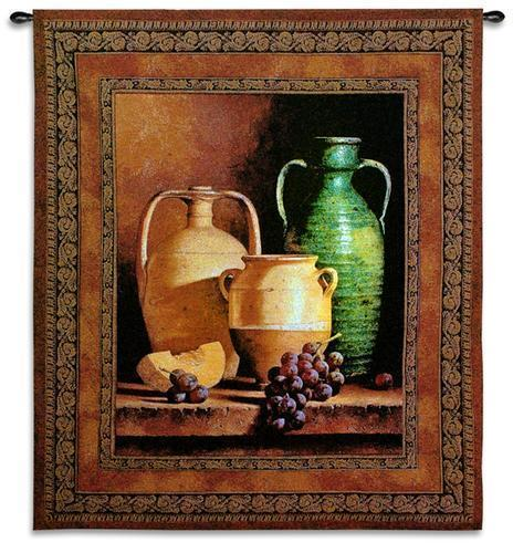 Primary image for 45x53 JUGS ON A LEDGE Grapes Vase Tapestry Wall Hanging