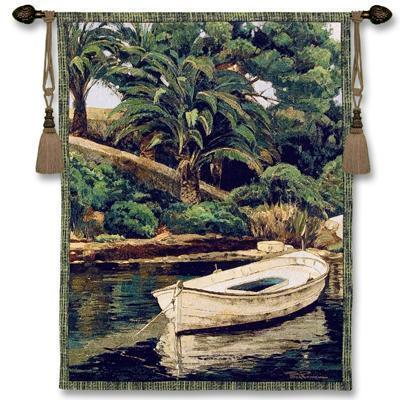 "52"" BARCA PALMERAS Boat Tropical Tapestry Wall Hanging"