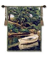 52x40 BARCA Y PALMERAS Boat Tropical Island Tapestry Wall Hanging  - $170.00