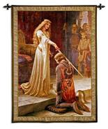 42x53 ACCOLADE Knight Lady Woman Royal Castle Medieval Tapestry Wall Han... - $169.95