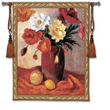 40x53 EARTHENWARE POPPIES Poppy Vase Floral Tapestry Wall Hanging - $169.95