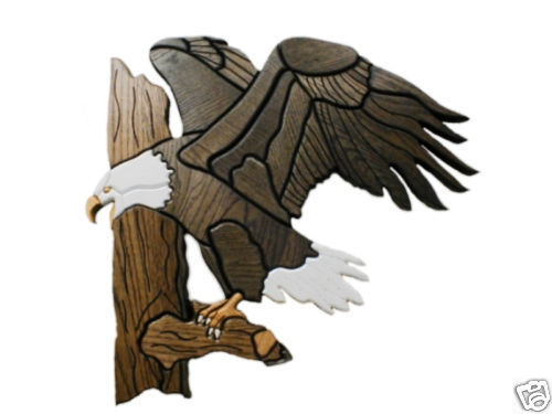 20x20 Carved WOOD Wooden EAGLE Wall Sculpture Figure