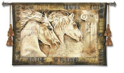53x36 MESSENGER White Horse Fine Tapestry Wall Hanging