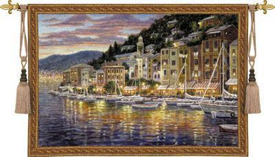 52x35 PORTOFINO Europe Sailboat Tapestry Wall Hanging